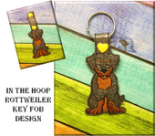 In The Hoop Rottweiler Key Fob Embroidery Machine Design