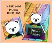 In the Hoop Panda Door Sign Embroidery Machine Design