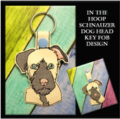 In the Hoop Schnauzer Head Key Fob Embroidery Machine Design