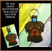 In The Hoop Rottweiler Head Key Fob Embroidery Machine Design