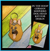 In The Hoop German Shepherd Dog Head Key Fob Embroidery Machine Design