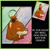 In The Hoop Pitbull Head Key Fob Embroidery Machine Design