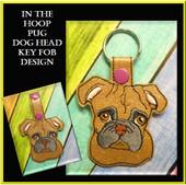 In The Hoop Pug Dog Head Key Fob Embroidery Machine Design