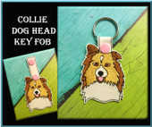 In The Hoop Collie Head Key Fob Embroidery Machine Design