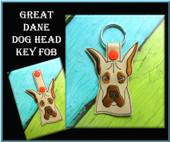 In The Hoop Great Dane Dog Head Key Fob Embroidery Machine Design