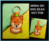 In The Hoop Shiba Inu Dog Head Key Fob Embroidery machine Design