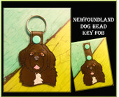 In The Hoop Newfoundland Dog Head Key Fob Embroidery Machine Design