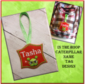 In The hoop Caterpillar Name/Bag Tag Embroidery Machine Design