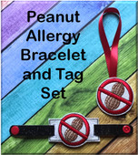 In The Hoop Peanut Allergy Tag & Bracelet Embroidery Machine Design Set