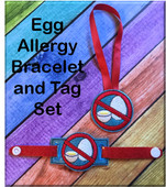 In The Hoop Egg Allergy Tag & Bracelet Embroidery Machine Design Set