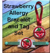 In The Hoop Strawberry Allergy Tag & Bracelet Embroidery Machine Design Set