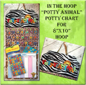 In the Hoop Potty Animal Potty Training Chart Embroidery Machine Design For 8x10 Hoop