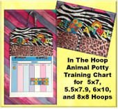 In the Hoop Potty Animal Potty Training Chart Embroidery Machine Design For 5x7,6x10,8x8, and 5.5x7.9 Hoops