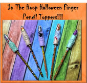 In The Hoop Halloween Finger Pencil Toppers Embroidery Machine Design