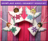 In The Hoop Snowflake Angel Ornament Embroidery Design Set