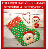 In The Hoop Baby Christmas Stocking and Ornament Embroidery Machine Design Set