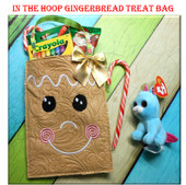In The Hoop Gingerbread Treat Bag Embroidery Machine Design