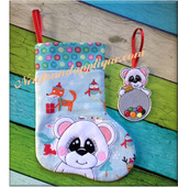 In The Hoop Bear Stocking and Ornament Embroidery Machine Desing