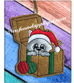 In The Hoop Kitty In Box Ornament Embroidery Machine Design