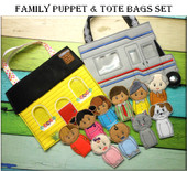 In the Hoop Family Finger Puppet & Tote  Embroidery Machine Design Set