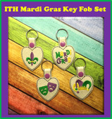 In The Hoop Mardi Gras Key Fob Embroidery Machine Design Set