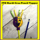 In The Hoop Mardi Gras Mask Pencil Topper Embroidery Machine Design