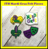 In the Hoop Mardi Gras Felt Pieces Embroidery Machine Design Set