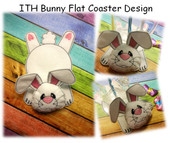 In The Hoop Flat Coaster Bunny Embroidery Machine Design Set