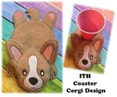 In The Hoop Flat Coaster Corgi Embroidery Machine Design