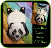In the hoop Flat Panda Bear Coaster Embroidery Machine Design