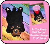In The Hoop Flat Rottweiler Coaster Embroidery Machine Design