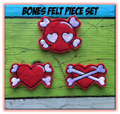 In The Hoop Bones Felt Bits & Pieces Embroidery Machine Design Set