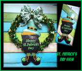 In The Hoop St. Patrick's Day Door Sign Embroidery Machine Design