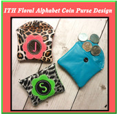 In The Hoop Floral Alphabet Coin Purse Machine Embroidery Design