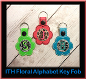 In The Hoop Floral Alphabet Key Fob Embroidery Machine Design Set