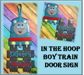 InThe Hoop Boy Train Door Sign Embroidery Machine Design