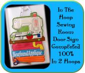 In The Hoop Sewing Room Door Sign Embroidery Machine Design
