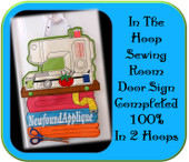 In The Hoop Sewing Room Door Sign Embroidery Machine Design