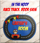 In The Hoop Race Track Door Sign Embroidery Machin Design