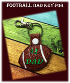 In The Hoop Football Dad Key Fob Embroidery Machine Design