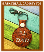 In The Hoop Basketball Dad Key Fob Embroidery Machine Design