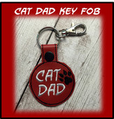 In The Hoop Cat Dad Key Fob Embroidery Machine Design