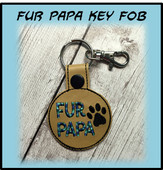 In The Hoop Fur Papy Snap Key Fob Embroidery Machine Design