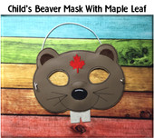 In The Hoop Beaver Child Mask With Maple Leaf Embroidery Machine Design