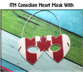 In The Hoop Canadian Heart Child's  Mask Embroidery Machine Design