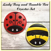 In the Hoop Bumble Bee and Lady Bug Coaster Embroidery Machine Design Set