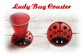 In the Hoop Lady Bug Coaster Embroidery Machine Design