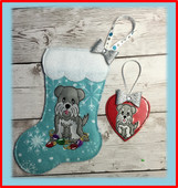 In The Hoop Schnauzer Stocking and Heart Ornament Embroidery Machine Design Set