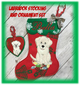 In The Hoop Labrador Stocking and Heart Ornament Embroidery Machine Design Set