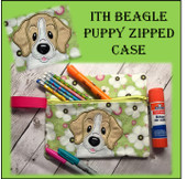 In The Hoop Beagle Puppy Zipped Bag Embroidery Machine Design